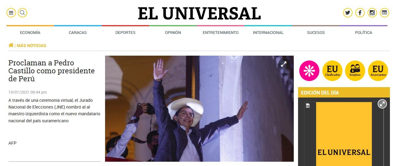 El Universal, de Venezuela, difundió así: Proclaman a Pedro Castillo como presidente de Perú