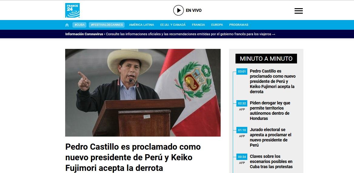 France 24 informó así: Pedro Castillo es proclamado como nuevo presidente de Perú y Keiko Fujimori acepta la derrota