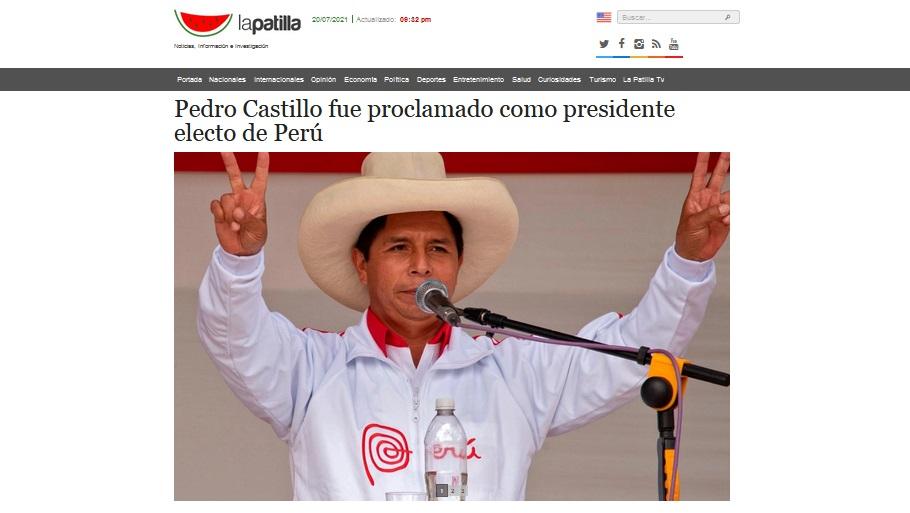 La Patilla, de Venezuela, publicó así: Pedro Castillo fue proclamado como presidente electo de Perú