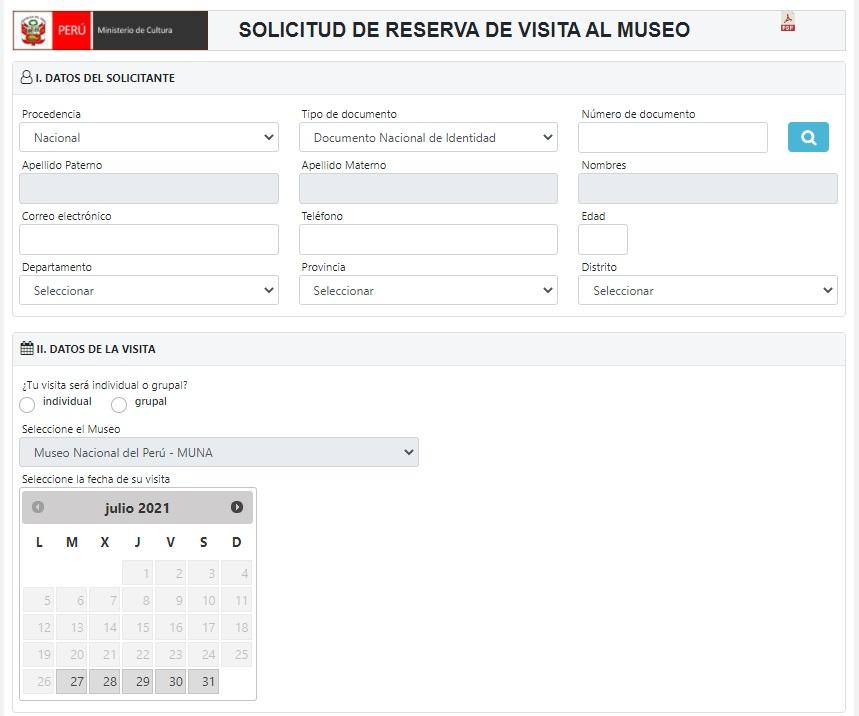 Coloca tus datos personales y separa tu día de visita al MUNA.