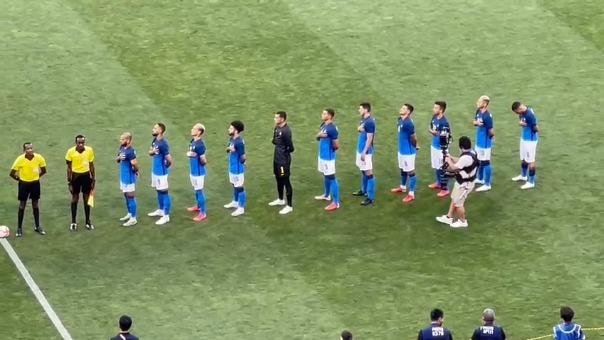 Himno de Brasil previo al inicio del partido ante Arabia Saudita