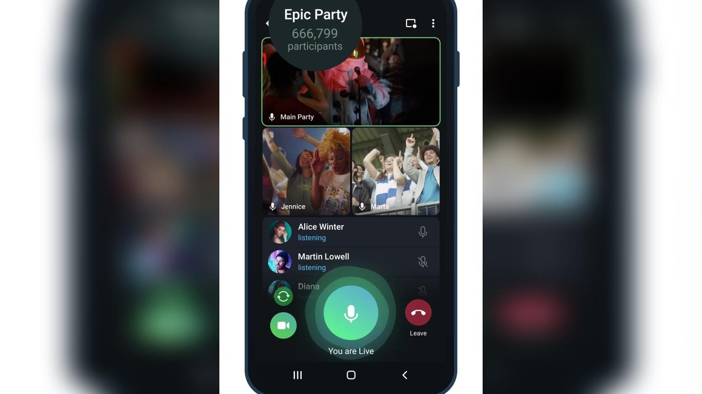 Transmisiones con espectadores ilimitados en Telegram.