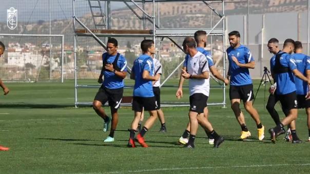 Luis Abram en la última práctica del Granada