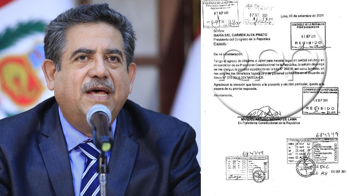 Manuel Merino solicita al Congreso pensión vitalicia como expresidente