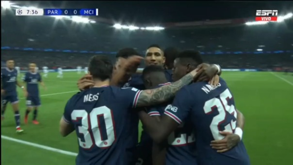 Así fue el gol de  Idrissa Gueye en el PSG 1-0 Mancheser City por Champions League