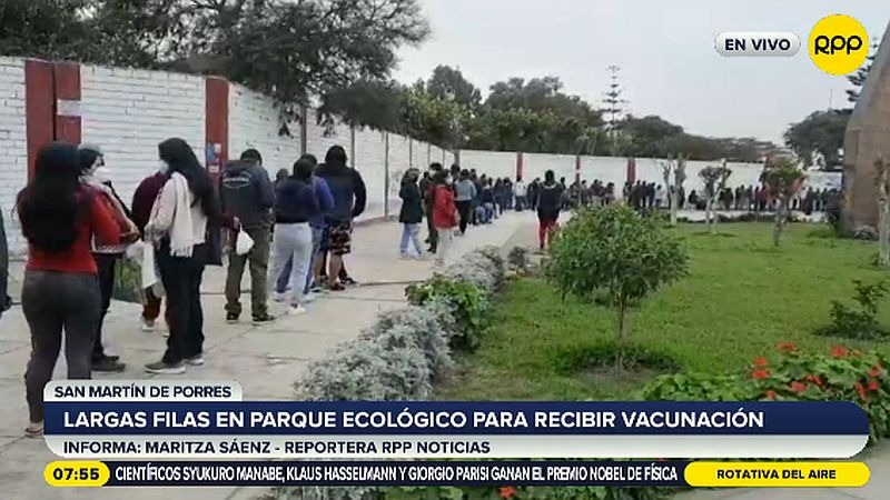 Este es el panorama en el vacunatorio del parque Mayta Cápac, en SMP.