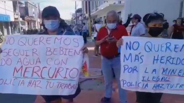 Un grupo de ciudadanos piden que la Policía realice operativos contra la minería ilegal en el río Nanay.