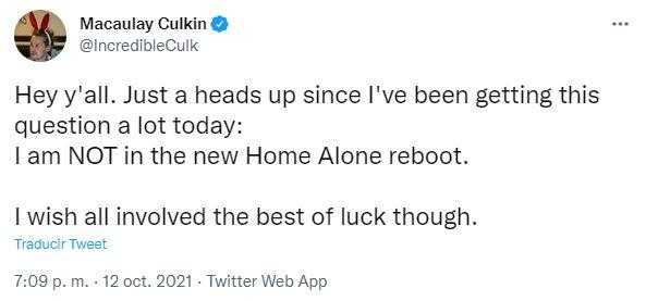 Macaulay Culkin descartó ser parte de